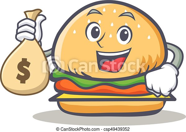 burger character fast food with money bag vector clipart vector rh canstockphoto com Money Bag Dollar Bill Clip Art