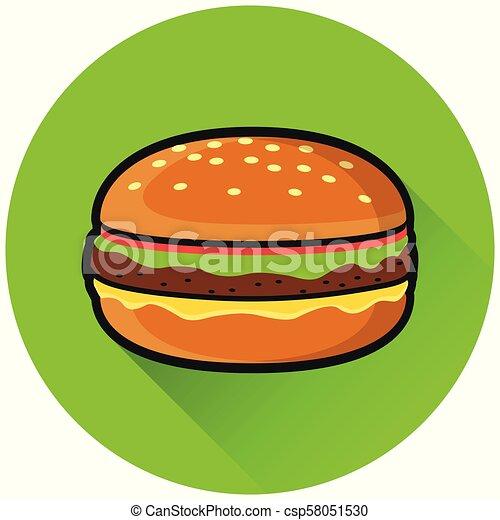 burger circle flat green icon - csp58051530