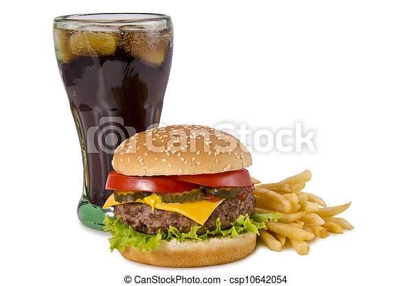 Burger, french fries and cola - csp10642054