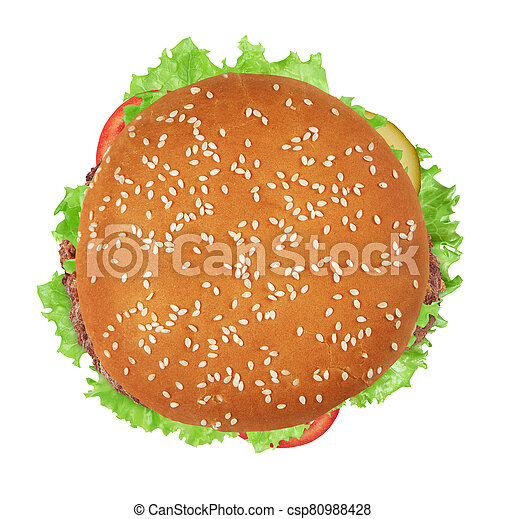 burger isolated on white background. Top view - csp80988428