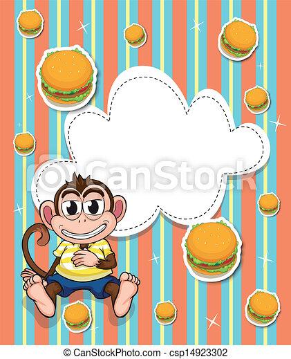 Burger, leerer , affe, schablone. Burger, leerer , affe,... Vektor ...