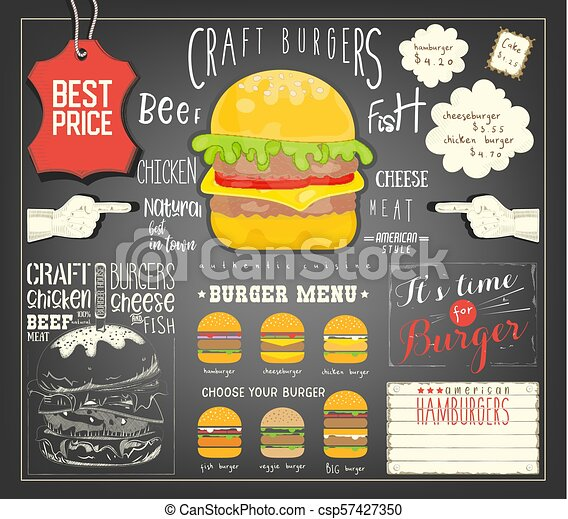 burger menu template placemat fast food concept vector illustration