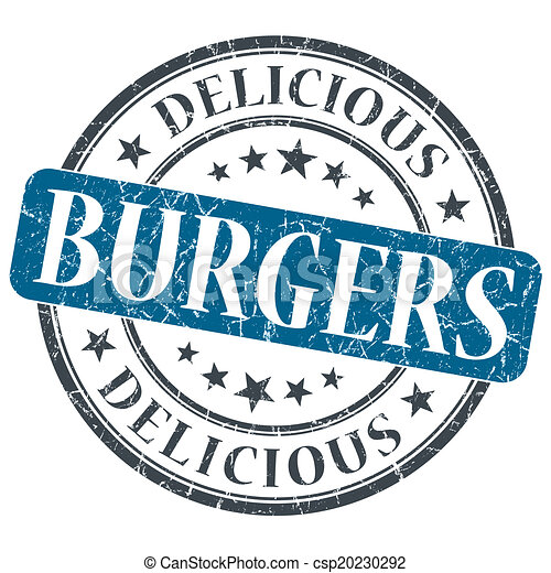 Burgers blue round grungy stamp isolated on white background - csp20230292