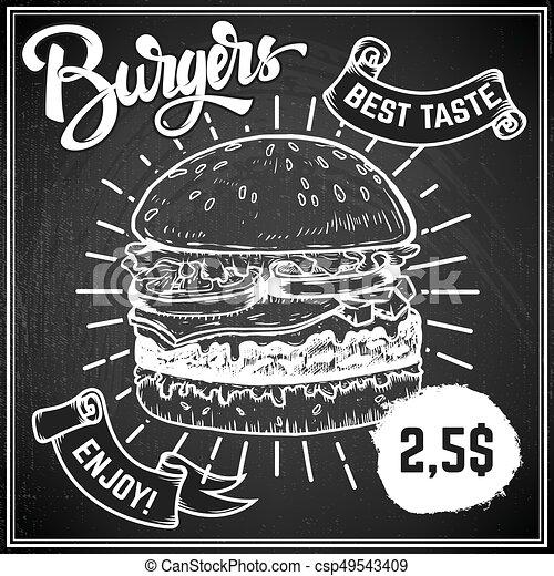 Burgers menu cover layout. Menu chalkboard with hand drawn illus - csp49543409