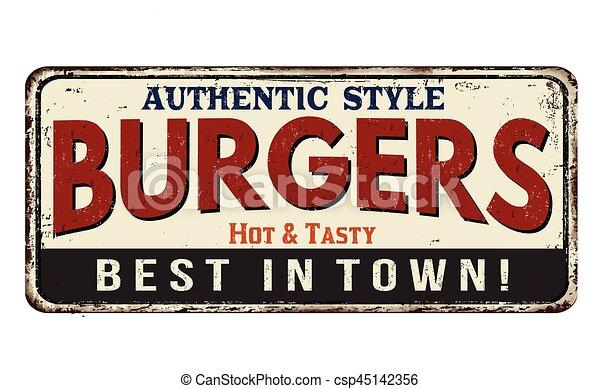Burgers vintage rusty metal sign - csp45142356