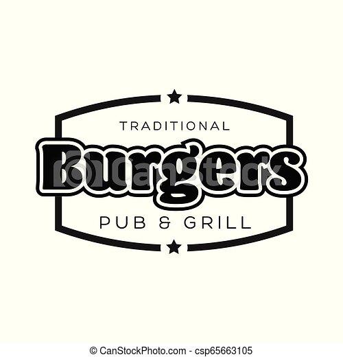 Burgers Vintage sign black logo - csp65663105