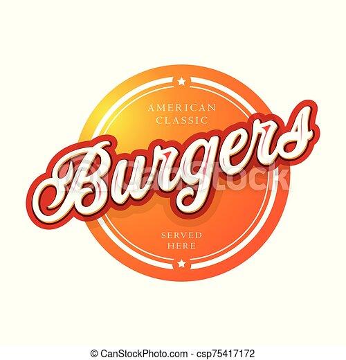 Burgers vintage sign lettering vector - csp75417172