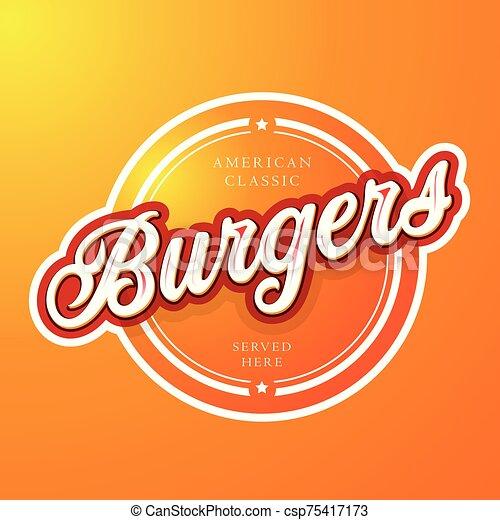 Burgers vintage sign lettering vector - csp75417173