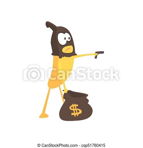 Burglar banana in mask holding hand gun and a bag with dollar sign, cartoon funny fruit character vector Illustration - csp51760415
