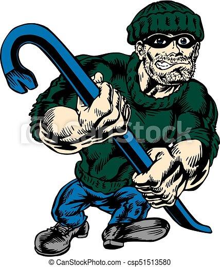 burgler strut neo classic mascot walking upright proud and tough