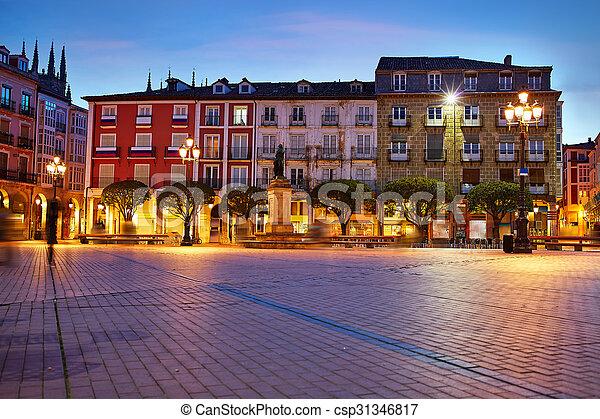 Burgos Plaza Mayor square at sunset in Spain - csp31346817