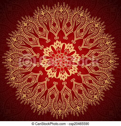 Burgundy pattern with gold lace ornament - csp20465590