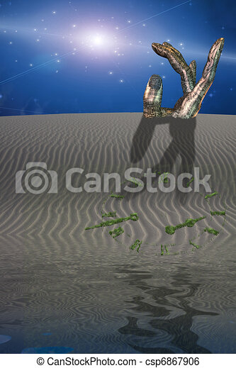 Buried sculpture of hand in desert with clock - csp6867906
