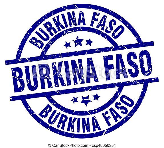 Burkina Faso blue round grunge stamp - csp48050354