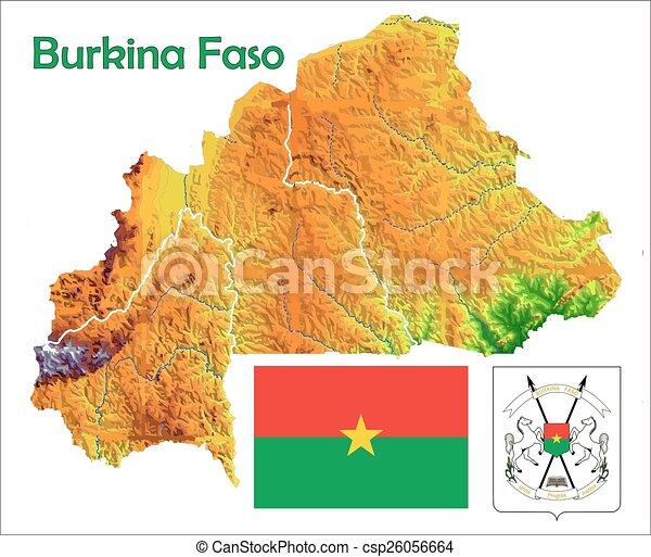 Burkina faso map flag coat Burkina faso map aerial view clip art