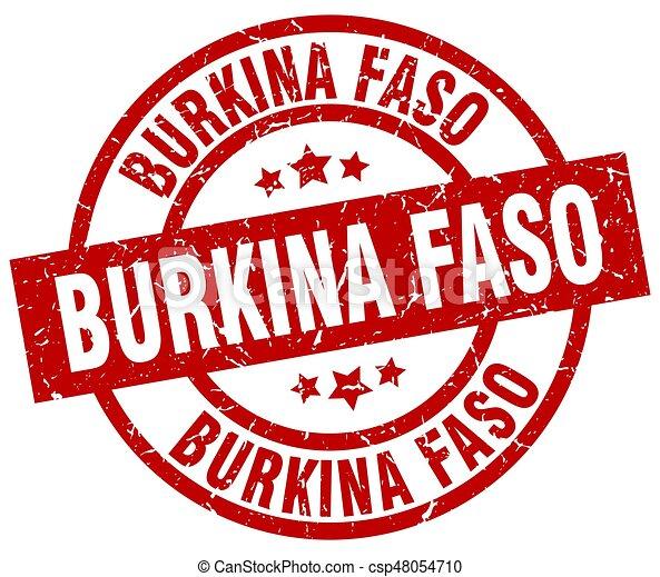 Burkina Faso red round grunge stamp - csp48054710
