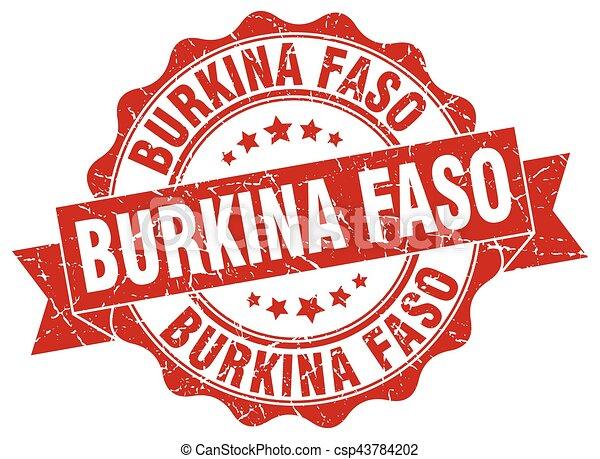 Burkina Faso round ribbon seal - csp43784202