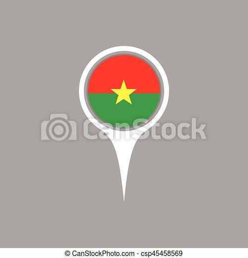 Burkina flag location map icon , Vector illustration. - csp45458569