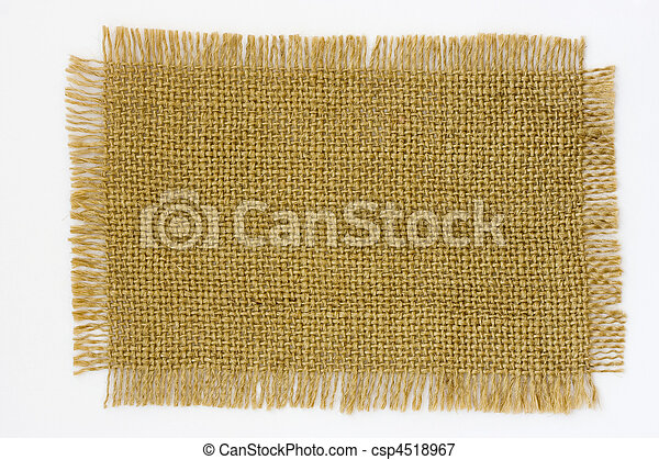 Burlap canvas with frayed edge on white - csp4518967