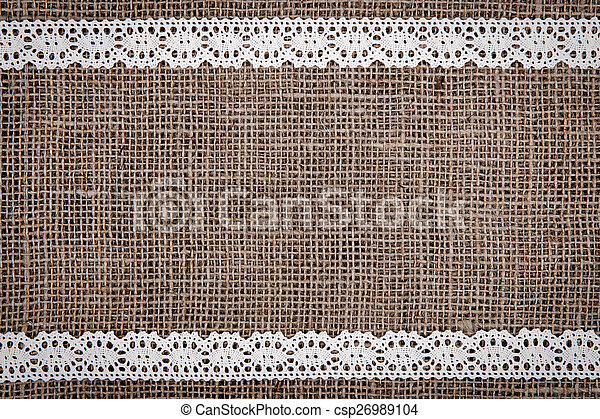 Burlap Lace Background With White Ribbon