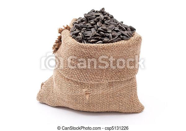 Burlap sack with sunflower seeds  - csp5131226