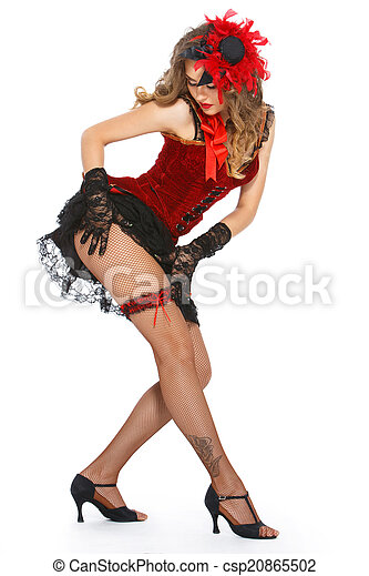 Burlesque. Attractive dancer on heels - csp20865502
