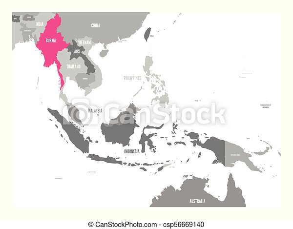 burma, mapa, vetorial, myanmar., região, ásia, destacado, sudeste, cor-de-rosa, ou - csp56669140