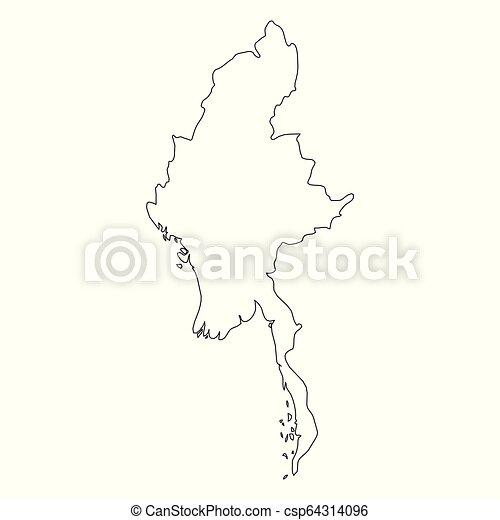 burma myanmar solid black outline border map of country area Burma Asia Map burma myanmar solid black outline border map of country area simple flat vector illustration