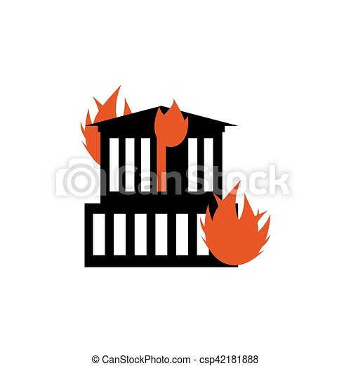 Burn building. Fire in facility. Arson home. Flames from office windows. Spontaneous disaster. Apocalypse on earth - csp42181888