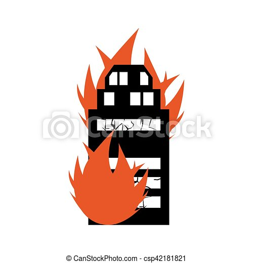 Burn building. Fire in facility. Arson home. Flames from office windows. Spontaneous disaster. Apocalypse on earth - csp42181821