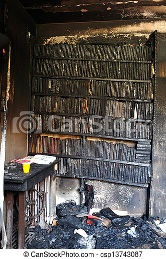 Burned books after a house fire - csp13743087