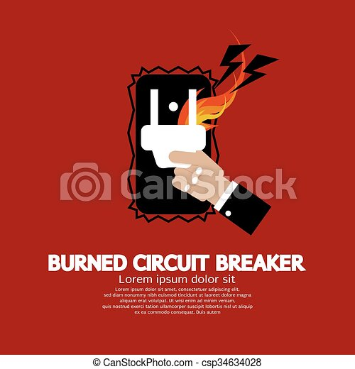 Burned Circuit Breaker. - csp34634028