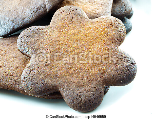Burned cookies on white plate - csp14546559