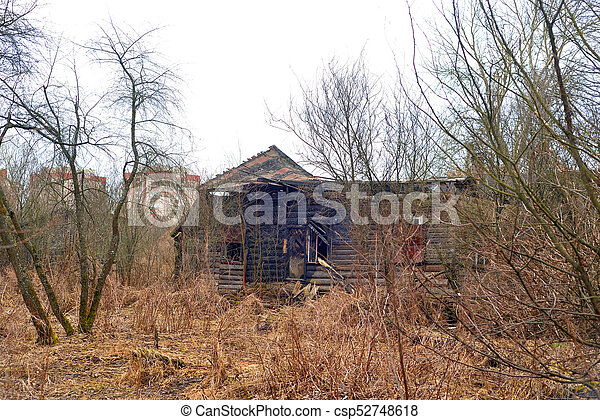 Burned down building. - csp52748618