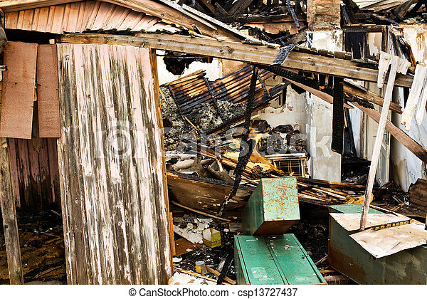 Burned down house - csp13727437