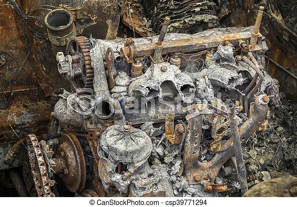 Burned down rusty engine - csp39771294