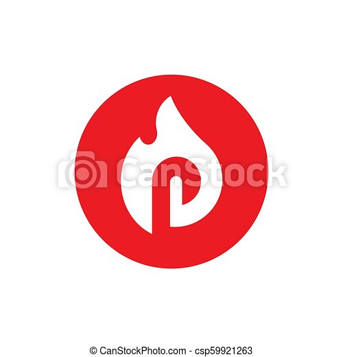 Burned Letter P Symbols Combined With Fire Vector Illustration Design