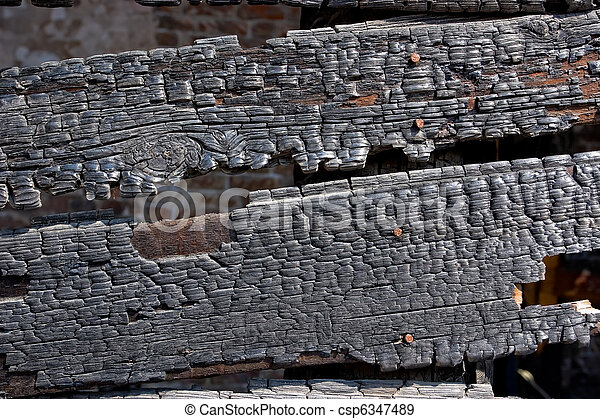 Burned wooden wall - csp6347489