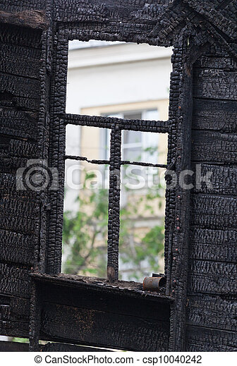 Burned wooden window frame - csp10040242