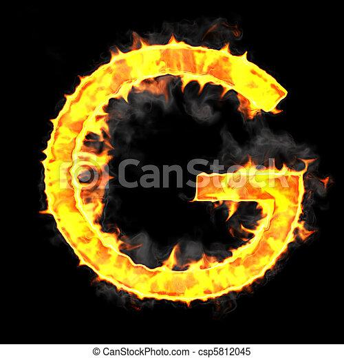 Burning and flame font g letter over black background.