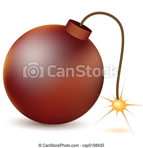 illustration of burning atom bomb on white background rh canstockphoto com atomic bomb clipart atomic bomb clipart