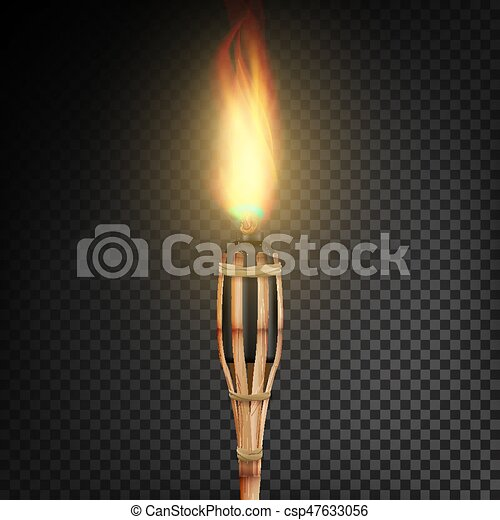 Burning Beach Bamboo Torch With Flame Realistic Fire Isolated On Transparent