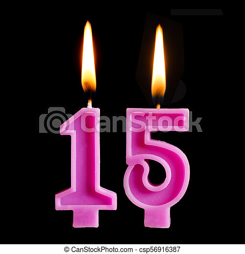 Burning Birthday Candles In The Form Of 15 Fifteen Figures For Cake Isolated On Black Background Stock Photo