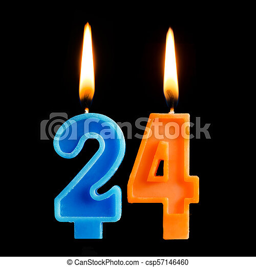 Burning Birthday Candles In The Form Of 24 Twenty Four For Cake Isolated On Black Background