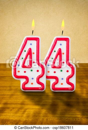 Burning birthday candles number 44 - csp18607811