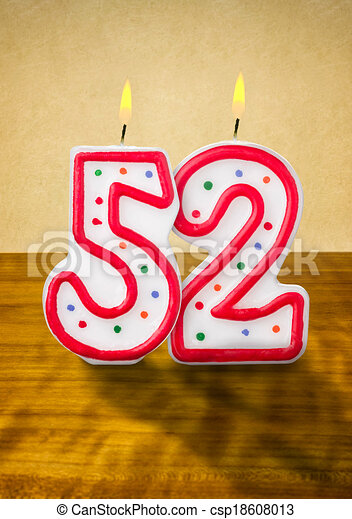 Burning birthday candles number 52 - csp18608013