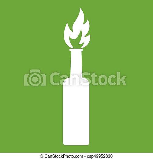 Burning bottle icon green - csp49952830