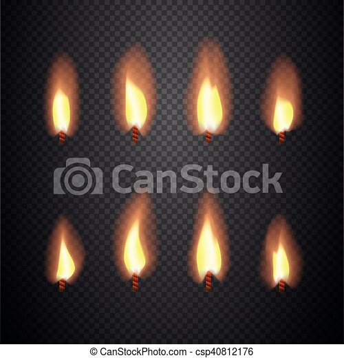 Burning candle flame animation vector frames. burning wick isolated ...