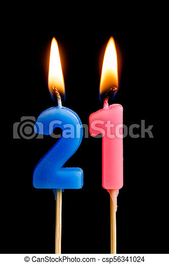 Burning Candles In The Form Of 21 Twenty One Numbers Dates For Cake Isolated On Black Background Stock Photo
