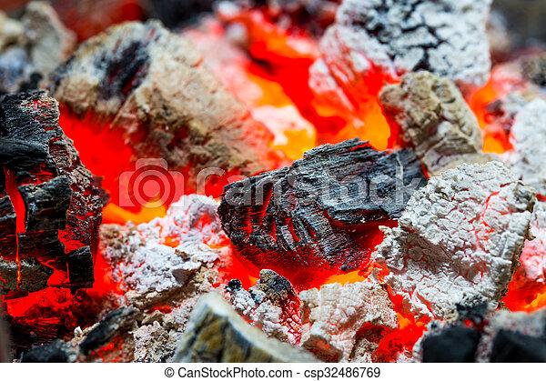 Burning charcoal - csp32486769